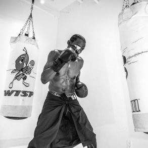 Michael Olajide Jr boxes in his gym