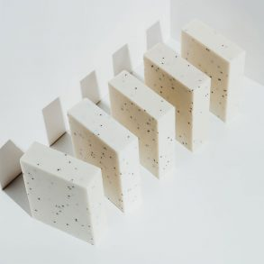 Bars of white soap arranged in a row