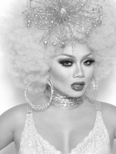 black and white image of jujubee drag queen