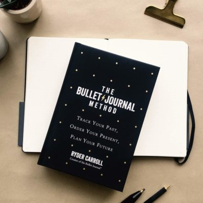 Bullet journal notebook and book on table with pens