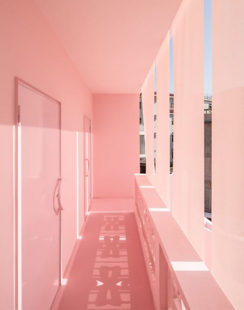 pink hallway in california