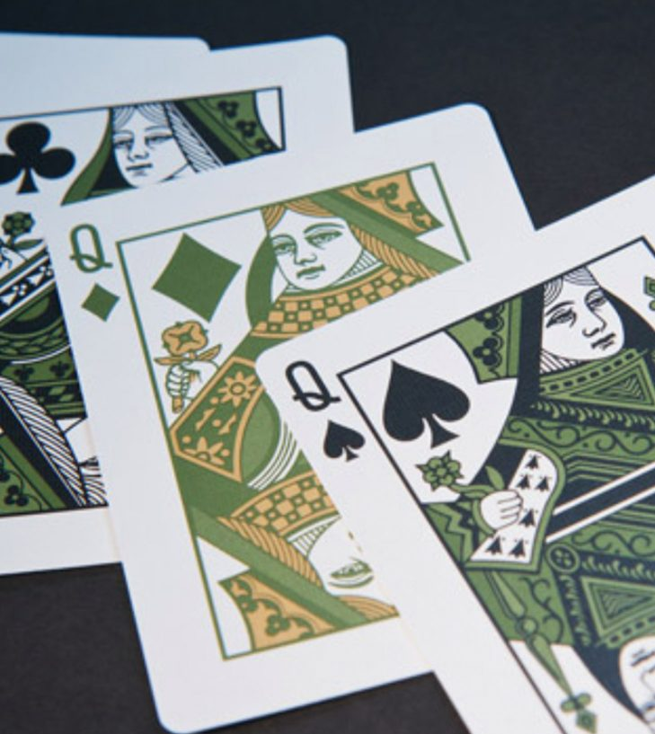 green queen playing cards