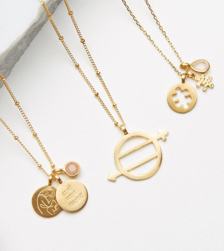every mother counts satya necklaces lined up