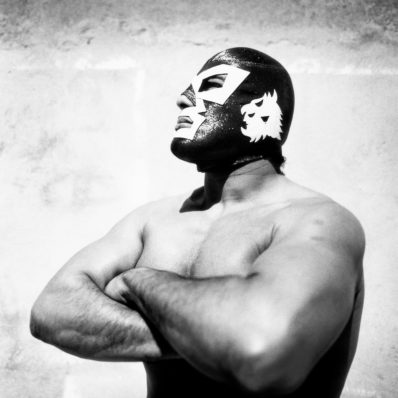 Mexican wrester Dr Wagner Jr poses wearing his mask in profile