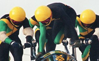 The first Jamaican bobsled team pushes off on the ice