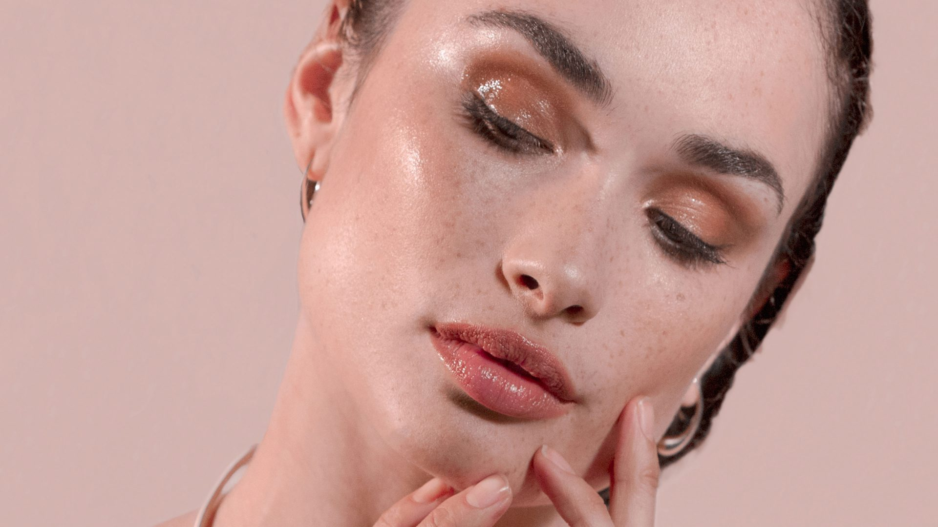 Closeup of models face and hands
