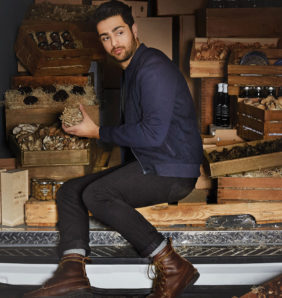 Fine food sourcer Ian Purkayastha sits in a van with crates of wine and truffles